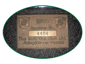 MGB Register Plaque