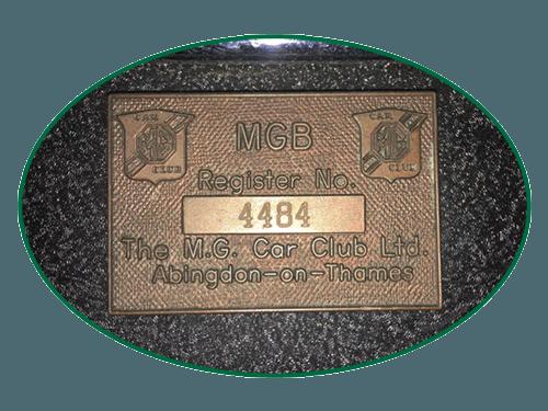 MGB Register Plaque