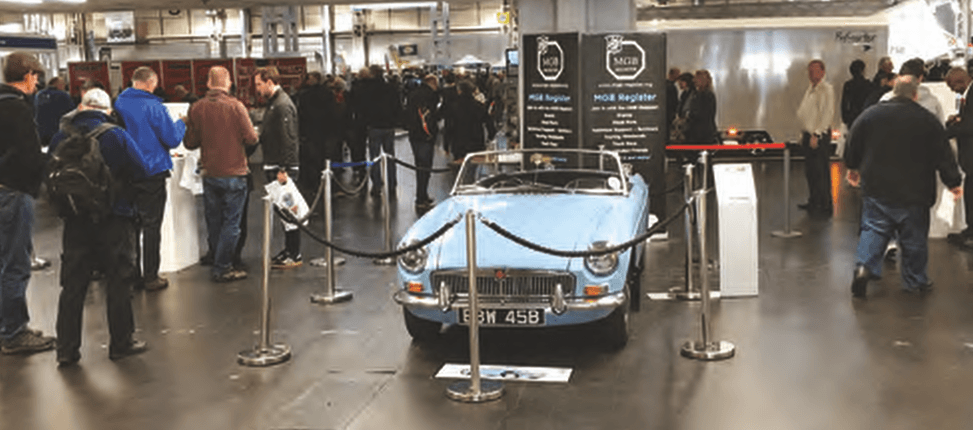 MGB Register welcomes visitors to Hall 3 at the Classic Car Show