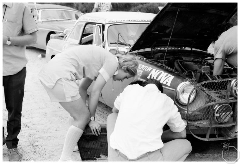 Jean inspecting the holed radiator.